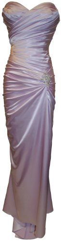 Big Sale Long Satin Bandage Evening Gown Formal Bridesmaid Prom Dress Brooch Junior Petite Plus - Lavender - M