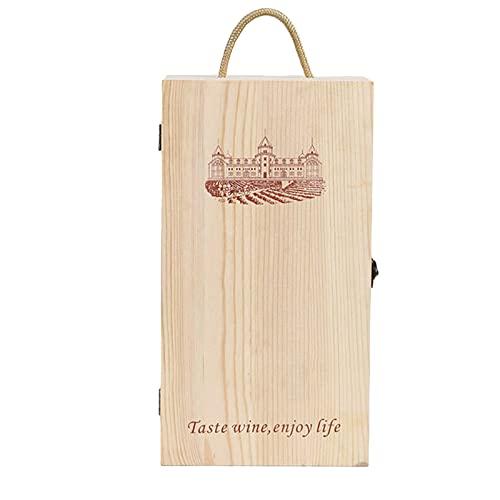 Caja de Vino De Madera PortáTil De Dos Botellas Tablero De Tarjeta De Bloqueo De Metal Retro Caja de Madera Segura para Actividades De Fiesta para Celebrar Regalos Y Almacenar Vino Tinto