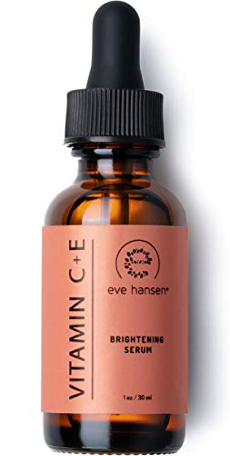 Eve Hansen Vitamin C Serum for Face | 76% Organic Antioxidant Brightening Facial Serum with Hyaluronic Acid, Vitamin E and Aloe Vera | Reduce Appearance of Wrinkles, Fine Lines, Dark Spots (1 OZ)