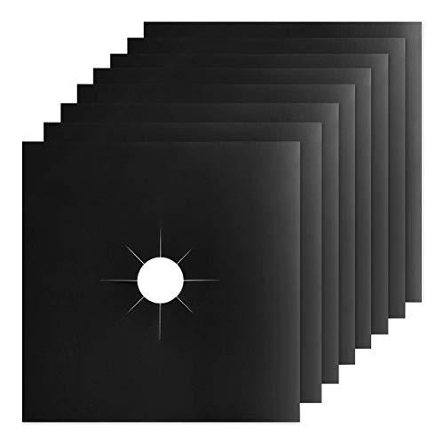 Taope Fundas para quemador de gas, protectores de rango de gas con aprobado por la FDA, reutilizables, antiadherentes, resistentes al calor, color negro, paquete de 8 (27 x 27 cm) - Grueso