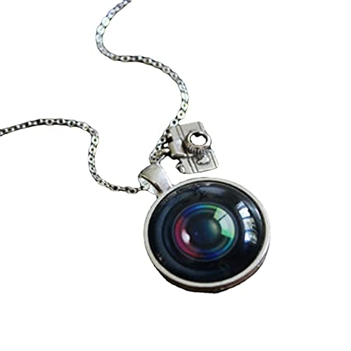 Collar de lente de cámara - Fotógrafo plata fotografía encanto vintage lente colgante