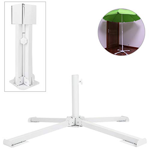 GKanMore Artificial Christmas Tree Base Stand 4-Tripods Foldable Metal Base Stand Holder for Artificial Xmas Tree, White