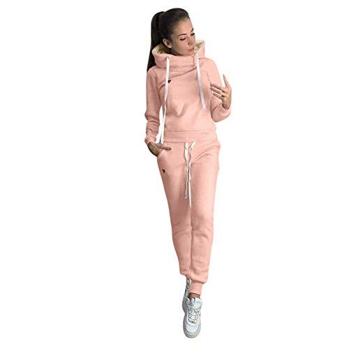 Trajes y Conjuntos de Mujer, Conjunto de Pantalones Largos Deportivos de Manga Larga con Capucha sólida Informal para Mujer, Ropa para Mujer (Rosa 4XL)