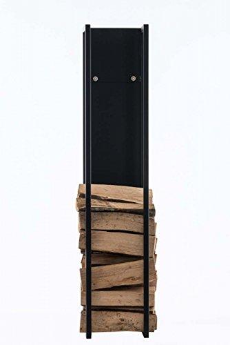Camino in Legno Supporto Spark 160cm; Supporto per legna da ardere NERO OPACO