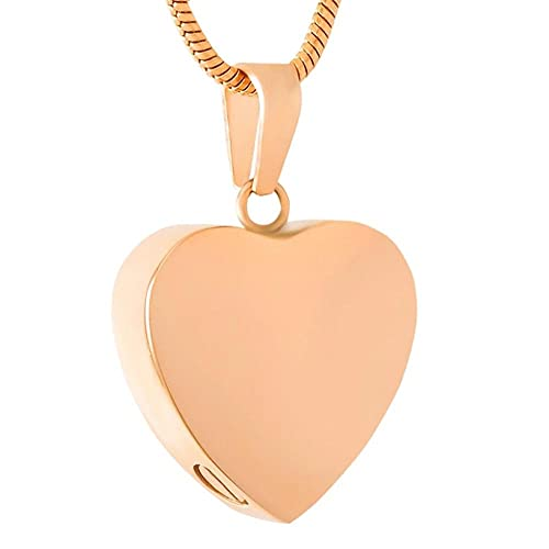 PicZhiwenture 20mm Plain Stainless Steel Blank Heart Cremation Jewelry Necklace Hold Ashes Keepsake Memorial Urn Pendant with Filling Kit