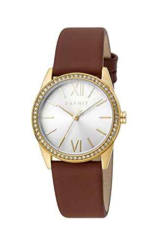Esprit Damen Armbanduhr Clara 32 mm Zirkonia-Kristalle auf dem Gehäuse Armband Leather ES1L219L0025