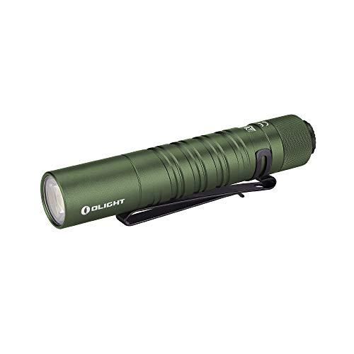 Olight I5T EOS Petite Lampe Torche 300 lumens / 60 mètres Blanc Froid LED, Commutateur de Queue EDC Portable Lampe Torche, avec Pile AA + Boîtier de Batterie (OD Vert)