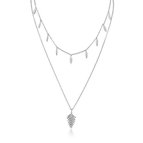 ANIA HAIE 925 Sterling Silver Layered Boho Statement Leaf Drop Pendant Multilayer Choker Necklace, Silver