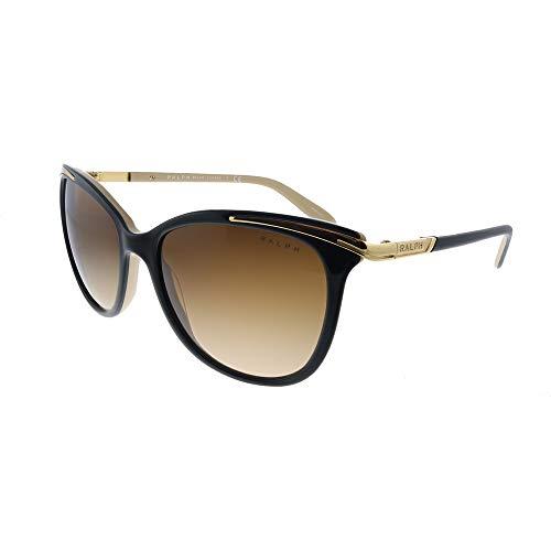 Ralph by Ralph Lauren Ra5203 - Gafas de sol para mujer, Negro brillante sobre oro nude, 54-16-135