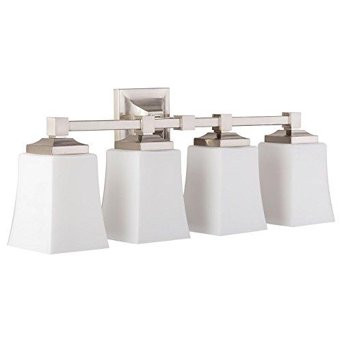 Brighton 4 Light Bathroom Vanity Fixture Brushed Nickel w/Frosted Glass Linea di Liara LL-WL240-4-BN