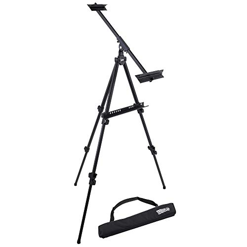 U.S. Art Supply 80' High Aluminum Artist Watercolor Field and Display Easel Stand - Adjustable Height Floor and Tabletop Tripod, Holds Painting Canvas Up To 63' Vertical, 40' Horizontal - Portable Bag