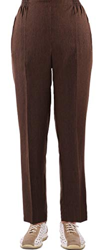 FASHION YOU WANT Damen Seniorenhose Schlupfhose mit Gummizug Kurzgröße ideal für pflegebedürftige Omas einfach anzuziehen und super pflegeleicht (40/42, braun)