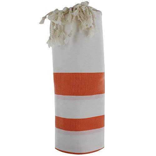 LES POULETTES Fouta Badetuch Weiß Baumwolle und Orange Streifen