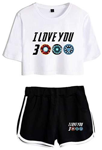 Silver Basic Conjunto de Camiseta y Pantalones Cortos de Moda de Verano Iron Man Man para Mujer de I Love You 3000 Blanco & Negro-4 S…