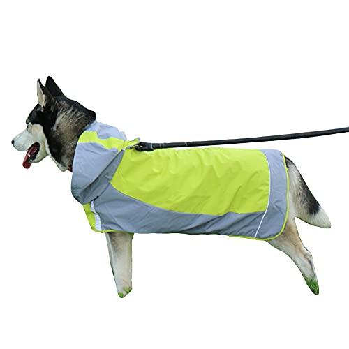 Coincidencia Mediano Grande Perros Chubasqueros Poncho de Lluvia con Banda Reflectante,Abrigo Impermeable Cobertura Total Chaqueta Poncho de Lluvia de Seguridad para Caminar al Aire Libre Verde 8