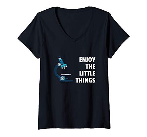 Mujer Tecnología del laboratorio Biología Microscopio Científico Camiseta Cuello V