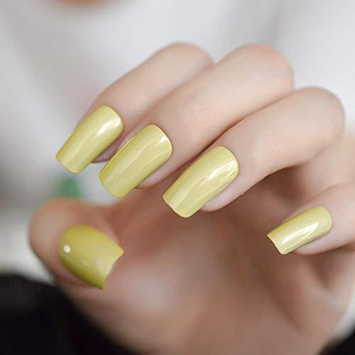Chenche Autocollants à Ongles pour Filles Crème Miroir Faux Ongles Moyen Jaune Vert Chrome Faux Ongles Conseils Carré Lady Décoratif Manucure