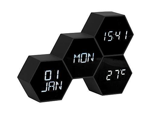 Karlsson - Uhr, Wecker - Six in The Mix - Kunststoff - Schwarz - H12 x B17,5 x T4,5 cm - Design: Gijs Van de Beucken