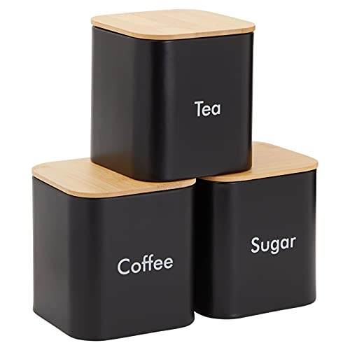 Sugar Tea Coffee Containers Set, Black Canisters for Kitchen, Stainless Steel with Bamboo Lids (3 Piece Set)