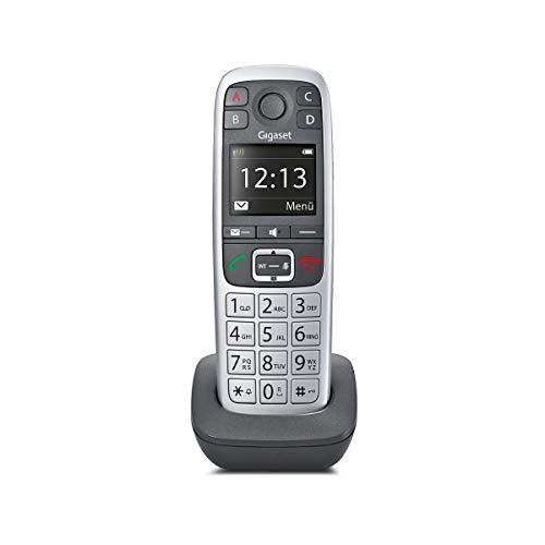 Gigaset E560HX Universal-Mobilteil - DECT-Telefon zum Anschluss an Basis – mit großen Tasten und 4 extra SOS-Notruf Tasten) platin