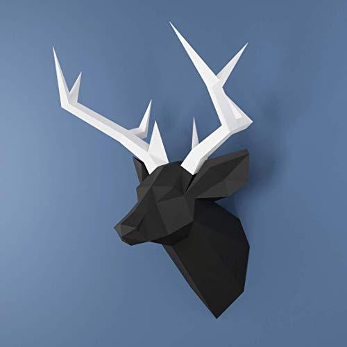 Rehkopf, Yona DIY Papercraft Kit, Hirsch papiermodell, 3D Origami Kit von Hand zusammenzubauen, Heimdekoration, Geschenk, Origami 3D, Papier Handwerk, Puzzle 3D,Deer head black white.