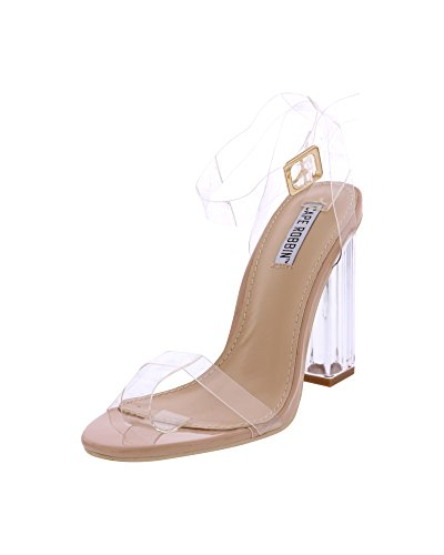 Cape Robbin Maria-2 Women's Lucite Clear Strappy Block Chunky High Heel Open Peep Toe Sandal,Nude,10