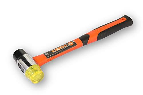 KENDO Schonhammer rückschlagfrei – Kopf-Durchmesser (Ø): 35 mm – Gewicht: 390g – Kunststoffhammer mit Fiberglasschaft und 2-Komponenten Griff