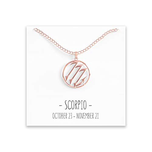 Happy Kisses Constellation Zodiac Necklace - Astrology Horoscope Pendant - All 12 in Silver or Gold with Message Card - Birthday (Scorpio Rose Gold)
