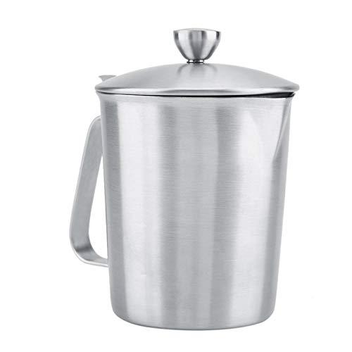 Jarra para espuma de leche, jarra para espuma de leche de acero inoxidable, taza de café con tapa y medida, suministros de cocina, taza para espuma de leche(500ML)
