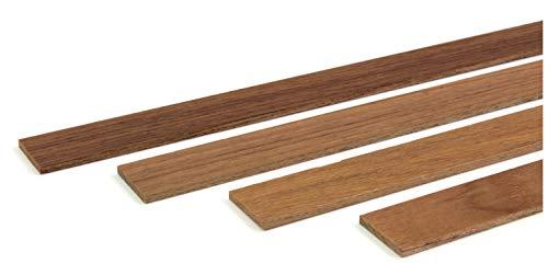 wodewa Holzleiste Wandleiste Teak Geölt 1m Abschlussleiste Holz 30x4mm Zierleiste für Wandverkleidung Decke Boden Abdeckleiste DIY Basteln