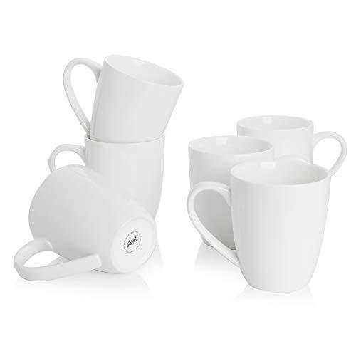 Sweese 621.001 Porcelain Mugs set - 20 Ounce Large Coffee Mug for Coffee, Tea, Cocoa, Set of 6, White