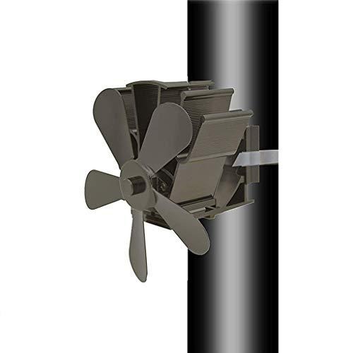Geef nooit op Hot Blast Stove Fan Hot Blast Fornuis Ventilator Open haard Hout Fornuis Ventilator Warmte Afvoer Rustige Warmte Drive Warmte Power Milieubescherming Efficiënte Ventilator 5 Stuks Ventilator Zwart