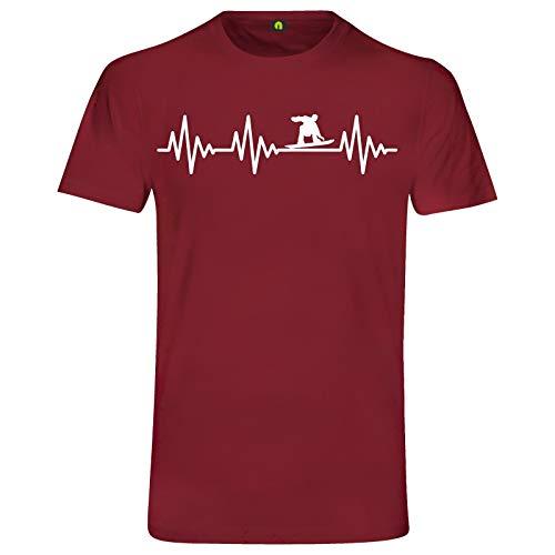 Herzschlag Snowboard T-Shirt | EKG | Jump | Slide | Half Pipe Park | Sport Ski Bordeaux Rot M