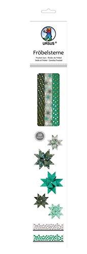 Ursus 34880000 - Fröbelsterne, 60 Streifen, sortiert in 2 verschiedenen Größen, grün/hellgrau/gold