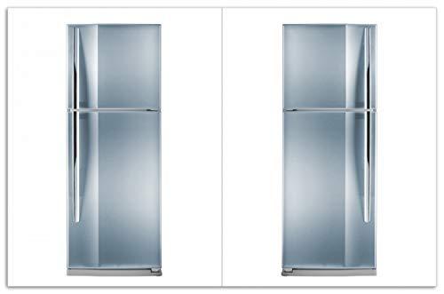 Wallario Herdabdeckplatte/Spritzschutz aus Glas, 2-teilig, 80x52cm, für Ceran- und Induktionsherde, Motiv Kühlschrank Edelstahl-Optik frontal bläulich-Silber glänzend