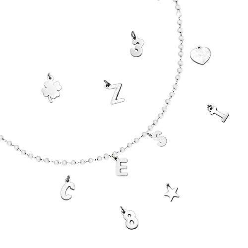 Beloved Collana componibile con cristalli briolè bianchi – personalizzabile fino a 15 lettere e simboli pendenti – nome, parola, iniziali - lettere o simboli colore silver (2 Lettere/Simboli)