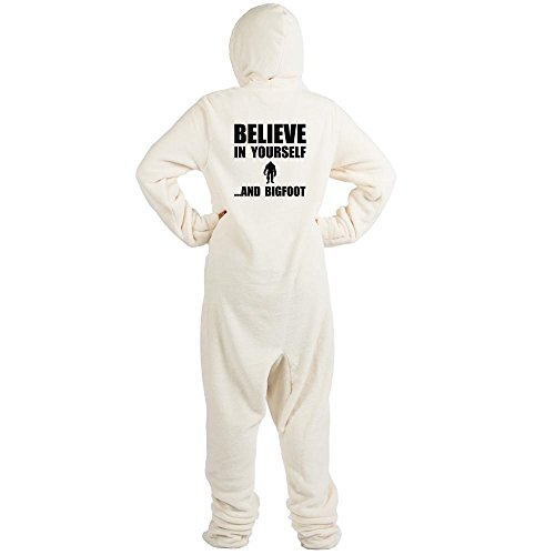 CafePress Believe Yourself Bigfoot Novelty Footed Pajamas, Funny Adult One-Piece PJ Sleepwear Creme