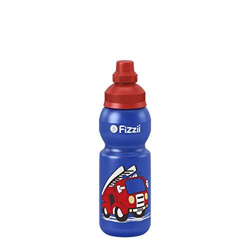 Fizzii Kinder- und Freizeittrinkflasche 330 ml (auslaufsicher bei Kohlensäure, schadstofffrei, spülmaschinenfest, Motiv: Feuerwehr)