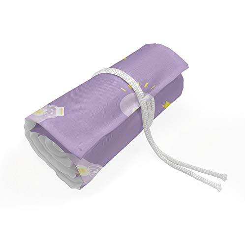 ABAKUHAUS Creatief Etui met Rolomslag voor Pennen, Soft Lightbulbs en Sterren, Duurzame & Draagbare Potloodetui, 48 Vakjes, Lavender Mosterd