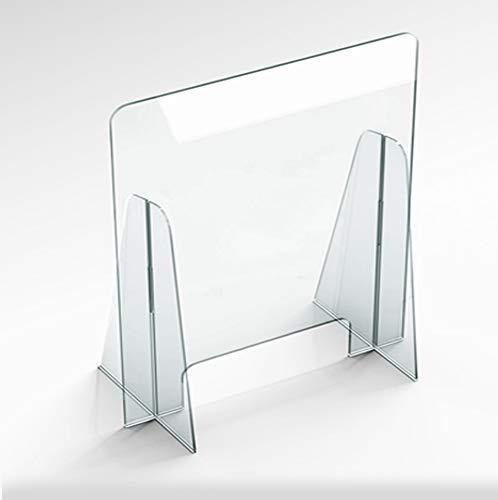 Protezione in Plexiglass Pannello Barriera Parafiato da Banco per Farmacia Supermercato separè schermo protettivo barriera parasputi (75x65)
