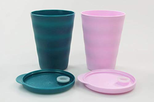 Tupperware Trinkhalmbecher Junge Welle 330 ml türkisgrün+rosa Trinkhalm Becher 38076