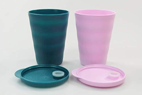 Tupperware Trinkhalmbecher Junge Welle 330 ml türkisgrün+rosa Trinkhalm Becher 38076