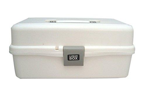 Lunar Box, 2 bandejas de artes, manualidades y caja de costura, con almacenamiento para pinceles (Blanco)