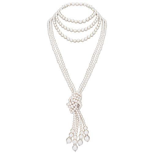 ArtiDeco 1920er Jahre Imitation Perlen Halskette Great Gatsby Stil Lange Knot Perlenkette 125 cm und 150 cm Karneval Mottoparty Flapper Zubehör (Weiß Knot Kette x2 mit 150cm Weiß Kette x1)