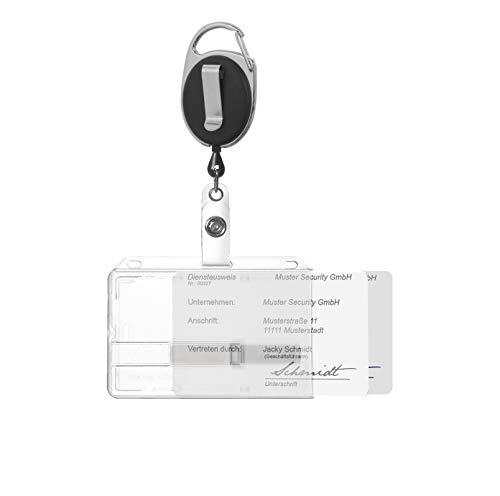 Karteo® Ausweishülle mit Ausweisjojo schwarz inkl. Clip und Karabinerhaken | Kartenhalter horizontal | für zwei Karten | mit zwei Schiebern transparent | aus Polycarbonat | benutzbar als Ausweishalter für Ausweise Dienstausweise EC Karten