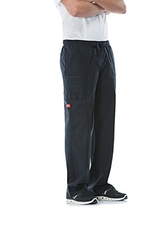 Dickies Men's Plus Size GenFlex Utility Drawstring Cargo Scrubs Pant, Black, XXX-Large
