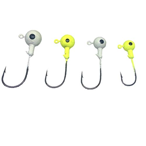Jig Heads (Minnow-Round) 4 Sizes (20ct) (Glow in The Dark & Chartreuse) Crappie/Bass/Trout