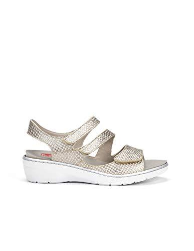 Fluchos | Sandalia de Mujer | Solly F0550 Mamba Cava | Sandalia de Piel de Vacuno de Primera Calidad | Cierre con Velcro | Piso de Caucho