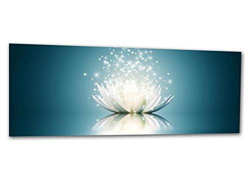 KD Dsign+ XXL Glasbild AG312500395 Mural Lotus Effekt BLAU 125 x 50 cm/WANDBILD Deco Glass/Handmade
