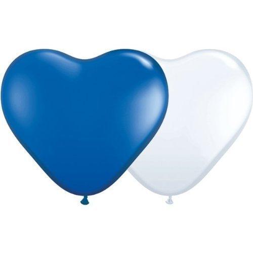 partydiscount24 20 palloncini a forma di cuore, colore blu/bianco, Ø 25 cm